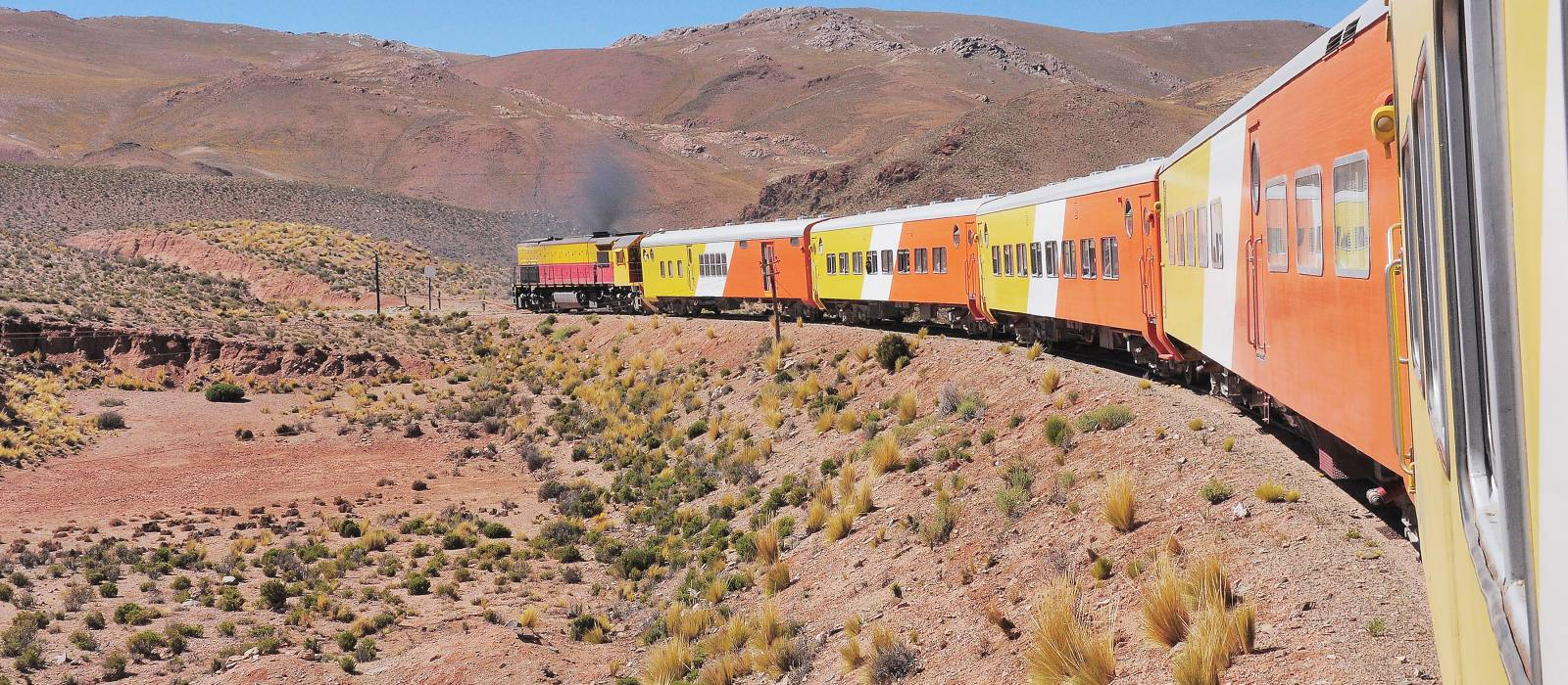 Train to the clouds goes from Salta to La Polvorilla viaduct. Argentina