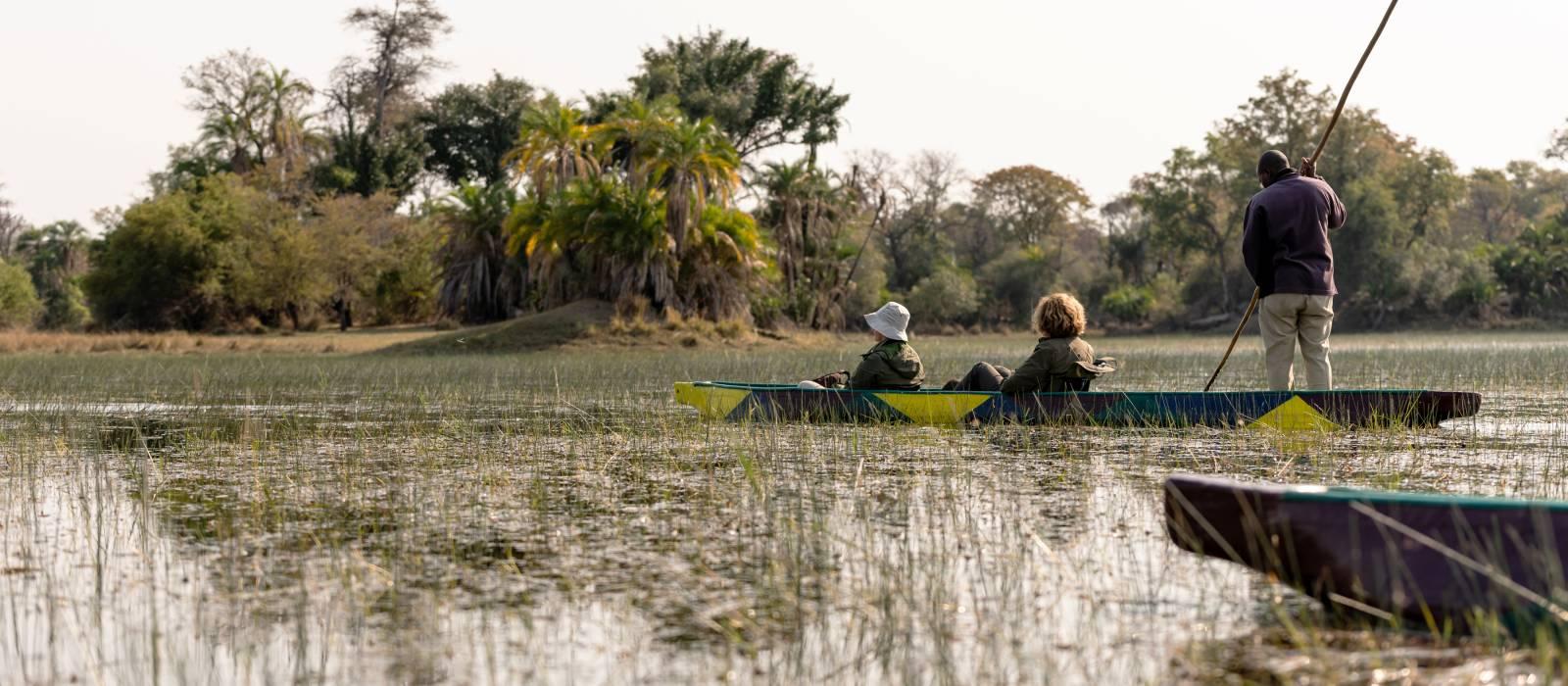 Mokoro ride in the okawango delta in Botswana, Africa