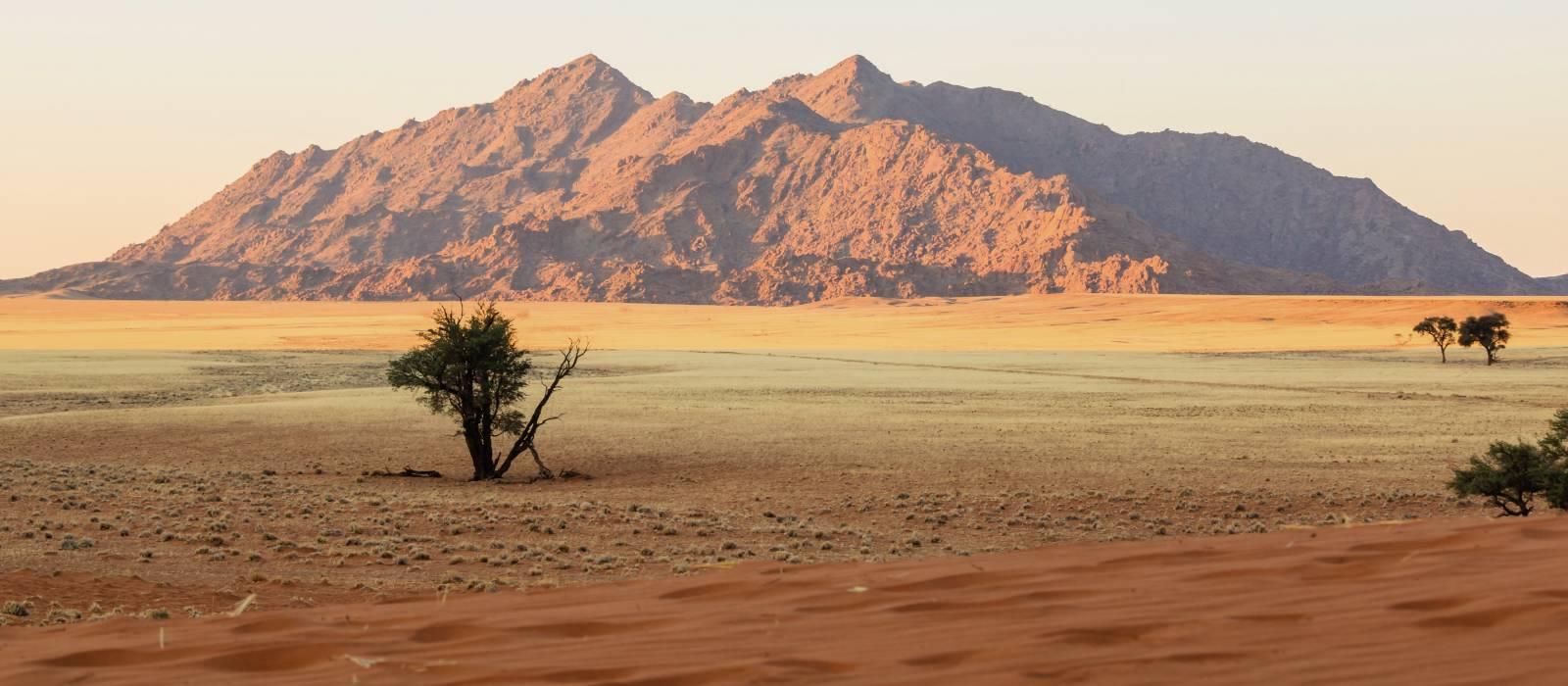 Rote Sanddünen und Granitaufschlüsse in Sesriem, Namibia, Afrika