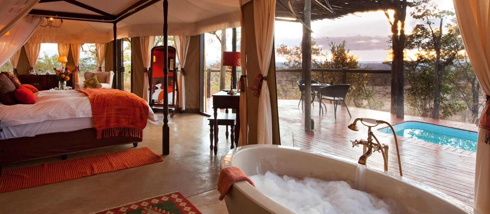 Room at Elephant Camp in Victoria Falls, Zimbabwe