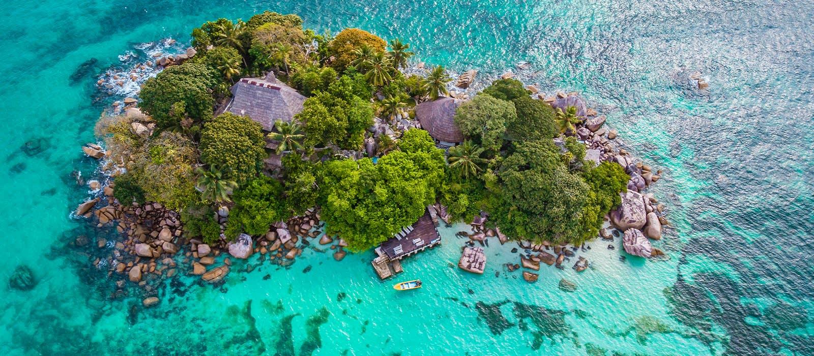 Seychelles beach holiday: Praslin tropical island Seychelles, drone view above st piere island Seychelles