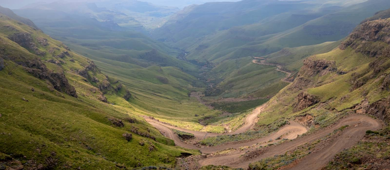 The Sani Pass, winding rural dirt road connecting Underberg in South Africa to Mokhotlong in Lesotho