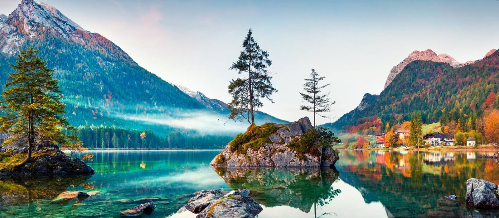 Beautiful nature with lake and mountains