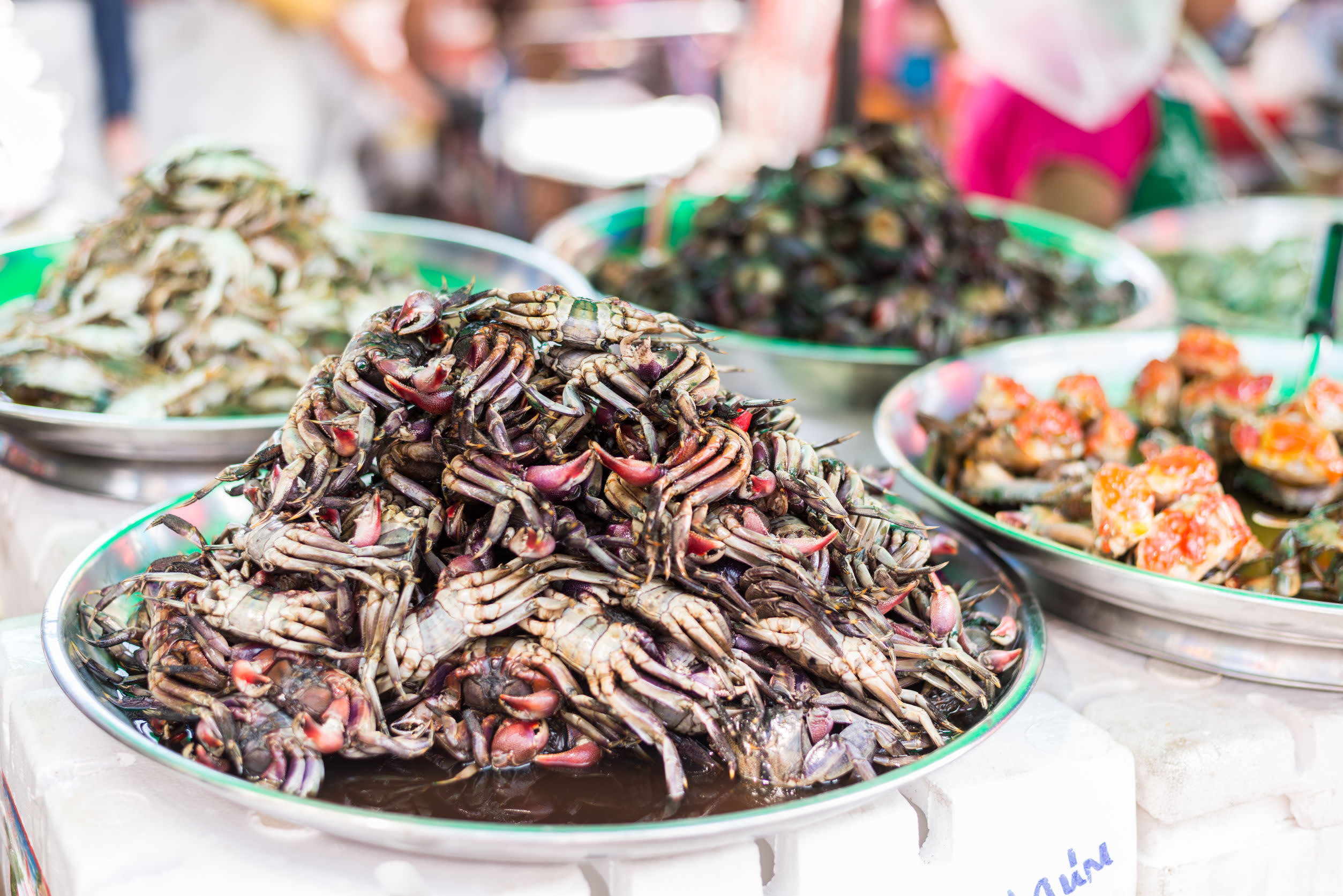 Teller mit Meeresfrüchte-Gerichten nach thailändischer Art