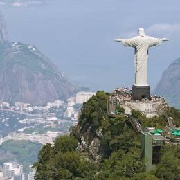 Aerial view of Rio de Janeiro with Christ Redeemer and Corcovado Mountain, Brazil, South America