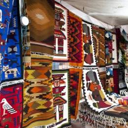 the beautiful and colorful indigenous market of Otavalo, Ecuador, South America