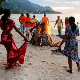 Beachside revelers in Mahe island, Seychelles - Seychelles Travel Guide - culture of Seychelles