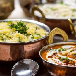 Cuisine of North India Enchanting Travels Indian Food in brass bowl - Indian Restaurant Guide - India travel guide