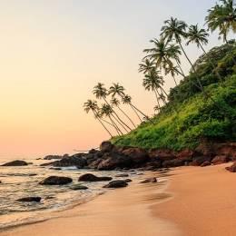Beautiful beach at sunset. Cola beach, South Goa, India, Asia