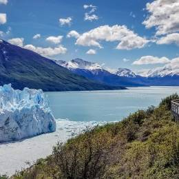 Wooden walkway leading to Perito Moreno Glacier in Patagonia Argentina, South America