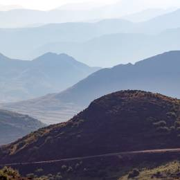 Remote dirt road in the mountains of Lesotho, Africa