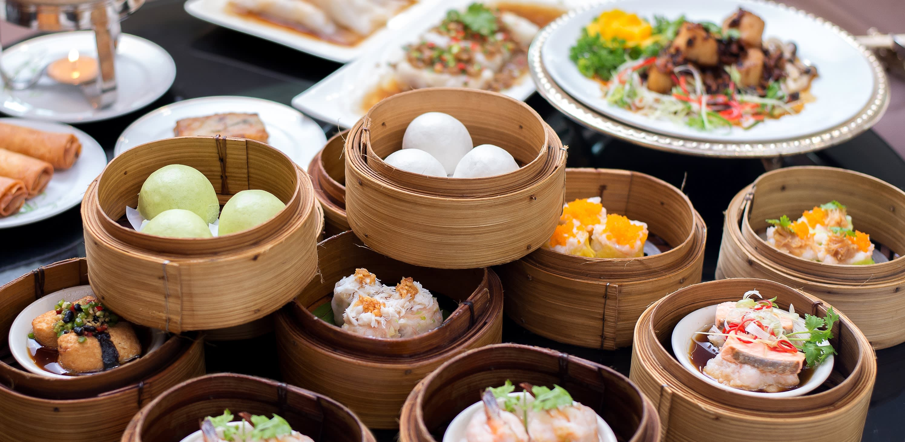 Enchanting Travels China Tours Arrangment of various dim sum in bamboo steamer