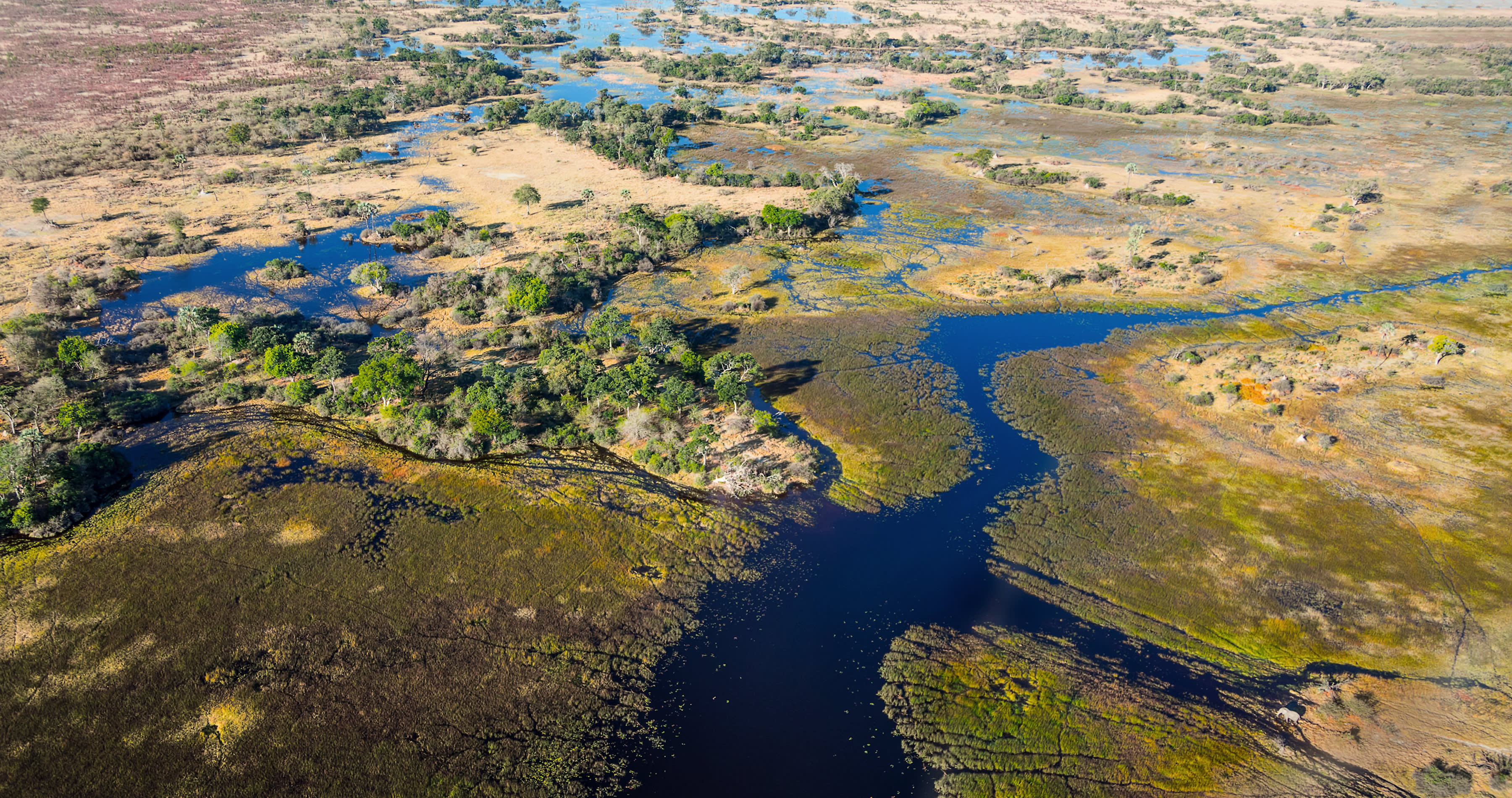 okavango delta in Botswana in africa from above out of airplane