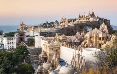 Jain temples on top of Shatrunjaya hill, Palitana, Gujarat, India