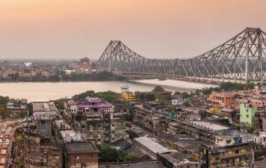 Beautiful panorama of Howrah bridge on the river, Kolkata, India