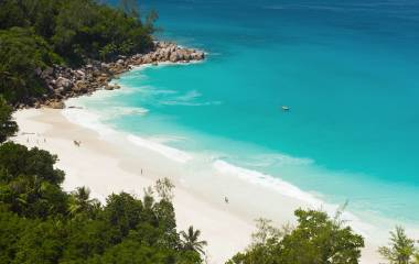 Beautiful and a famous beach Anse Georgette from above, Praslin island, Seychelles, Africa