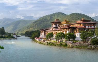 Punakha Dzong Monastery, one of the largest monestary in Asia, Punakha, Bhutan, Asia