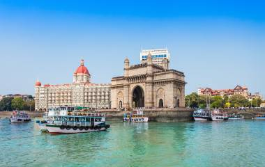 Enchanting Travels India Tours - Gateway of India and boats as seen from the Mumbai Harbour