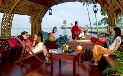 Guest enjoying in Xandari Pearl, Alleppey Houseboat, Kerala, India