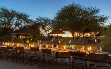 Outdoor dinner at Meno a Kwena Tented Camp in Kalahari Salt Pans, Botswana