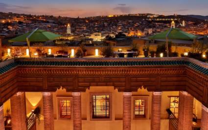 Dachterrasse des Riad Fes Hotels in Fes, Marokko