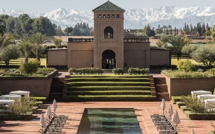Außenansicht des Selman Marrakech Hotel in Marrakesch, Marokko
