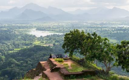 Schöne Aussicht vom Sigiriya Löwenfelsen, Sri Lanka, Asien