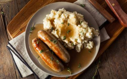 Enchanting Travels UK & Ireland Tours Homemade Bangers and Mash with Herbs and Gravy