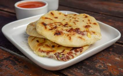 Pupusas - Flour tortillas with cheese and beans