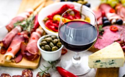 Enchanting Travel Spain Tours Traditional Spanish Tapas, Wine Snack Set, Food From Spain, Cheese, Meat, Vegetables And Other Appetizers On The Table