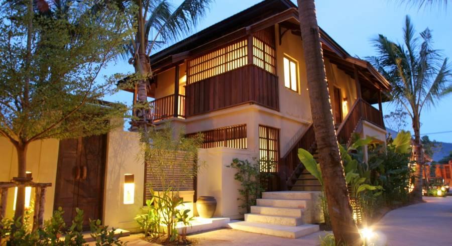 Exterior view of a guest lodge at Burirasa Village Koh Samui Hotel in Koh Samui, Thailand