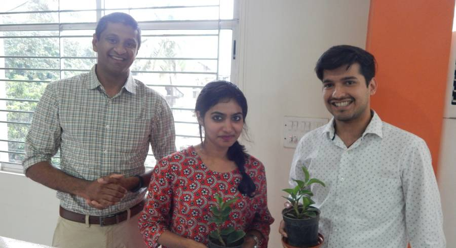 Prize winners of our regular office meetings quizzes are now gifted tree saplings.