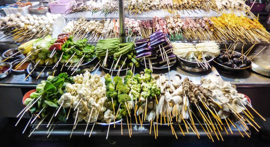 Grilled vegetables and meat at Alor Street Food Night Market in Kuala Lumpur, Malaysia, Asia