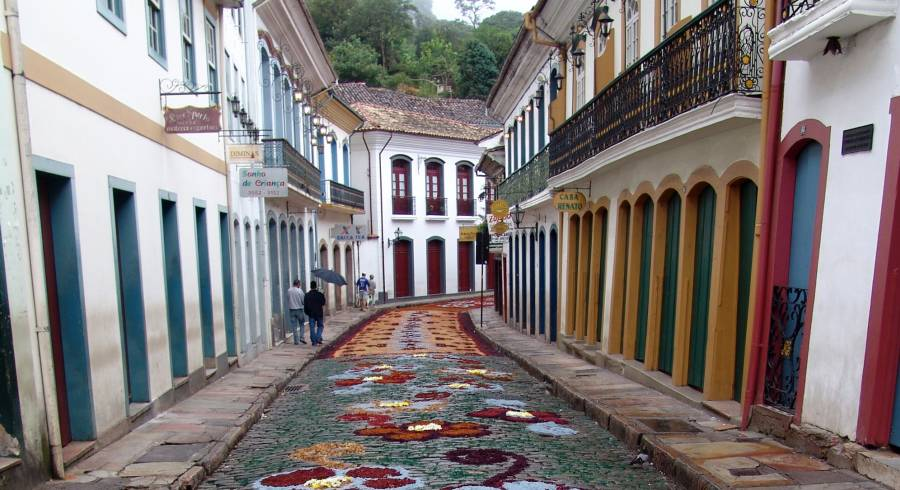 The colonial town of Ouro Preto in Brazil.