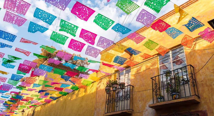 Colorful flags over Mexico City