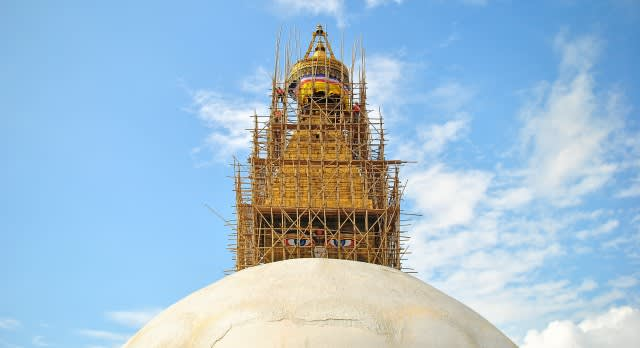 The Boudhanath stupa in Nepal being repaired
