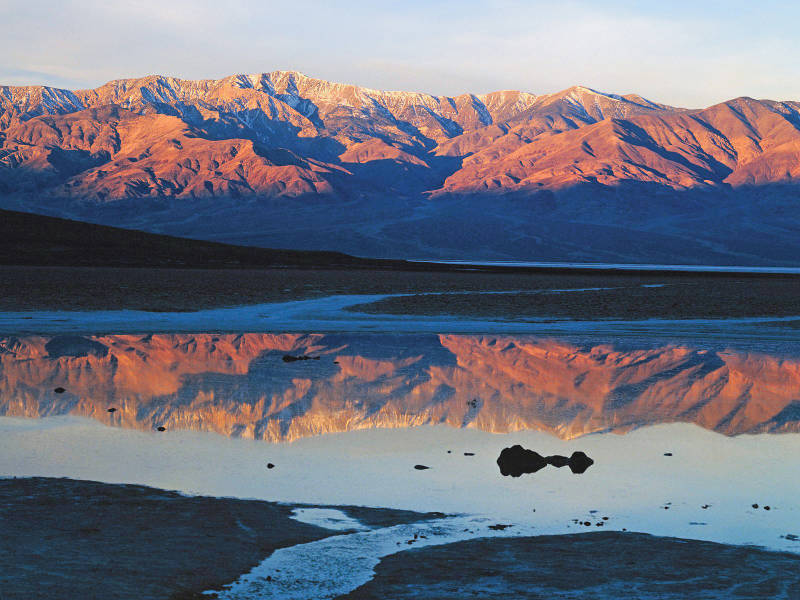 Badwater Springs at sunrise Death Valley National Park