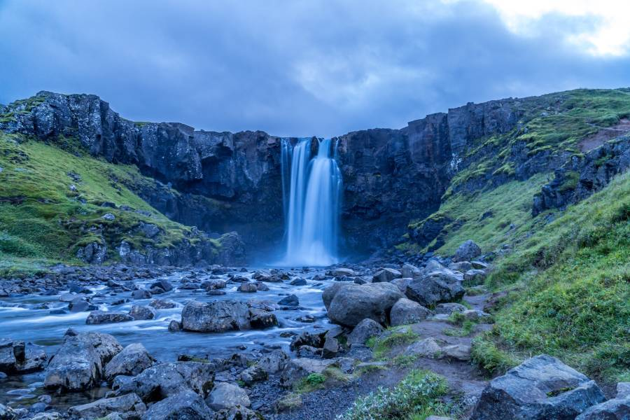 Waterfall in eco-friendly destination Iceland