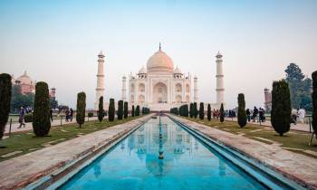 The Taj Mahal, Agra, with reflective pool
