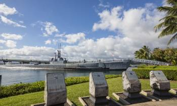 Bowfin and Memorial placards Pearl Harbour Oahu Hawaii