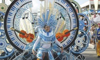 carnival girl in blue costume st lucia