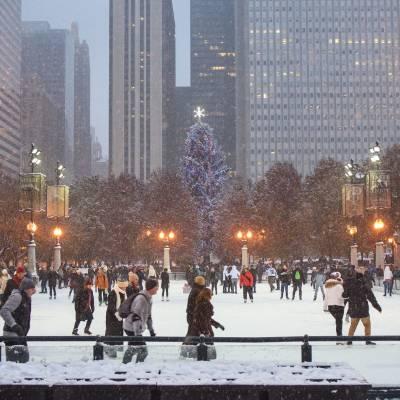 Christmas, Ice Skating, Millennium Park, Chicago, Illinois