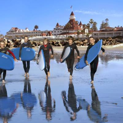 Surfing at Coronado Beach
