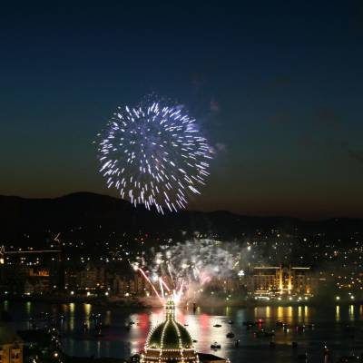 Aerial View of Canada Day Fireworks behind Legislature