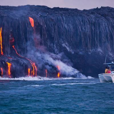 Watching lava flow into ocean