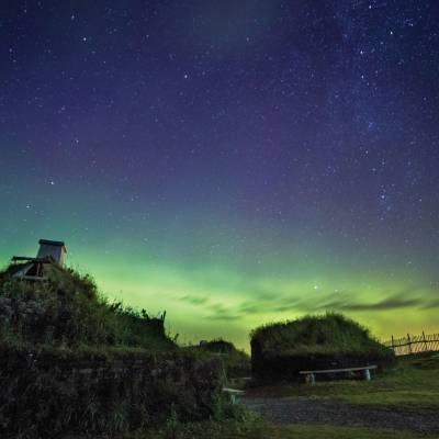 Northern Lights over L Anse aux Meadows National Historic Site Western Newfoundland