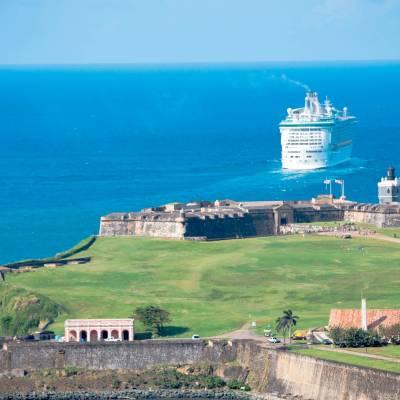 Cruise ship off Old San Juan, Puerto Rico