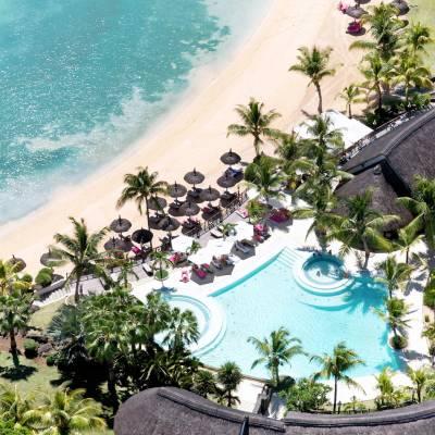 LUX* Grand Gaube beach aerial view