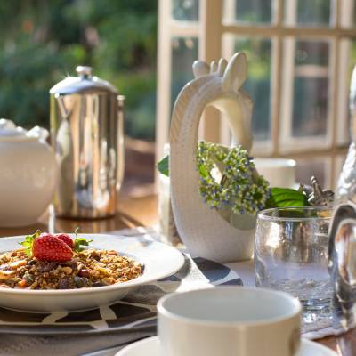 Breakfast tea with granola and strawberries