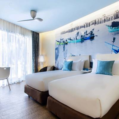 a large bed in a room